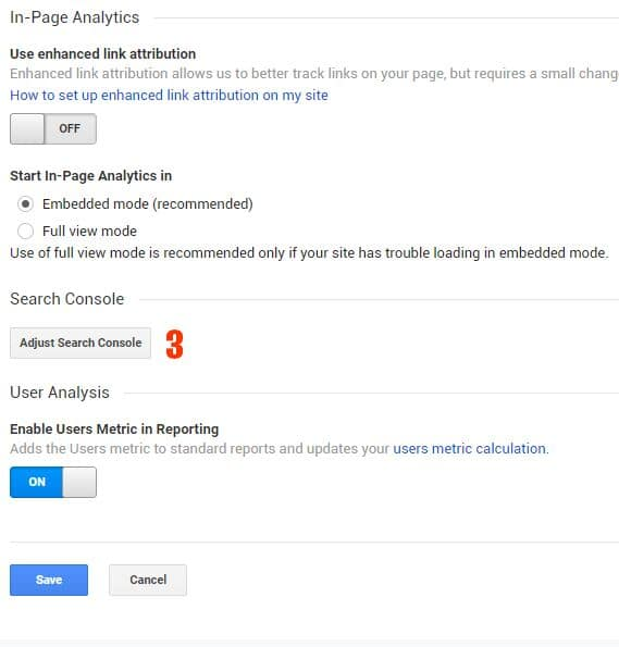 adjust search console google analytics