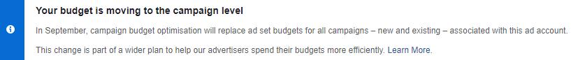facebook campaign budget optimization message