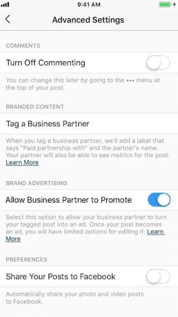 instagram branded content ads advanced settings