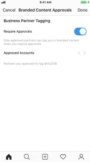 instagram branded content approvals