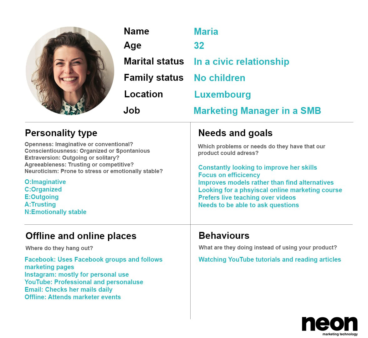 buyer persona example by neon marketing technology