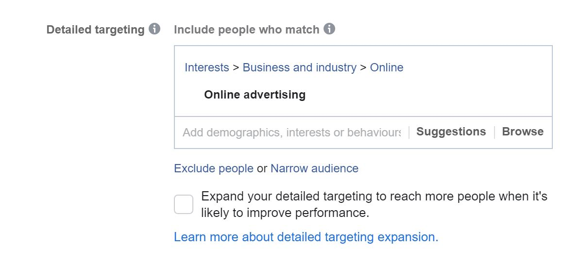 expand detailed targeting Facebook ads