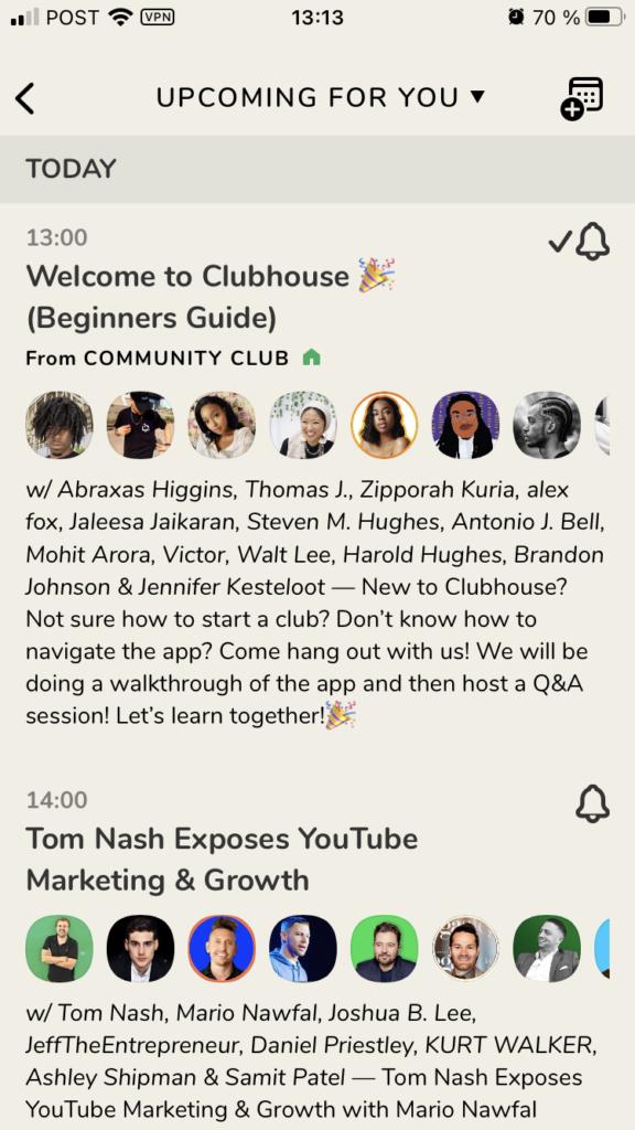 clubhouse screenshot 2